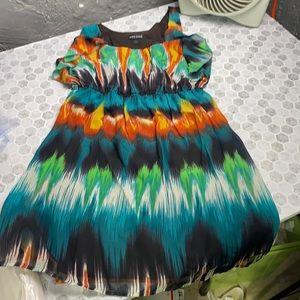 Wet Seal Medium Watercolor Dress Cinch Waist
